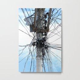 Power Lines on a Pole Metal Print