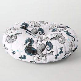 Pearla the Mermaid on Pink Floor Pillow