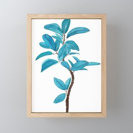 green rubber tree watercolor Framed Mini Art Print