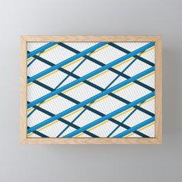 Deco Stripes Blue Framed Mini Art Print