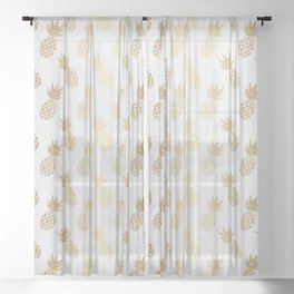 Gold Pineapple Pattern Sheer Curtain