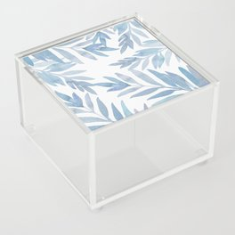 Muted Blue Palm Leaves Acrylic Box