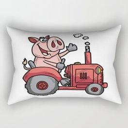 PIG ON A TRACTOR Piggy tractor Farmer Farm Cartoon Rectangular Pillow