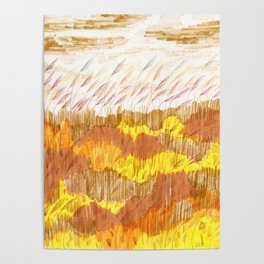 Golden Field drawing by Amanda Laurel Atkins Poster
