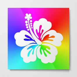 White Hibiscus Flower Bright Rainbow Ombre Metal Print