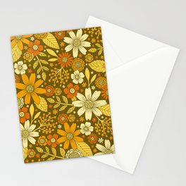 1970s Retro Flowers Pattern in Yellow, Orange & Olive Green Stationery Cards