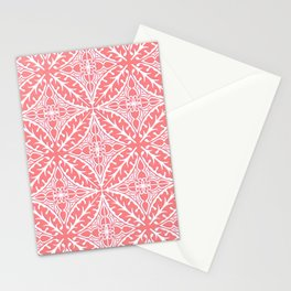 Moroccan Tile Pattern, Coral Pink and White Stationery Cards
