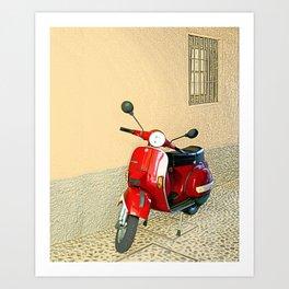 Vespa in Red Art Print