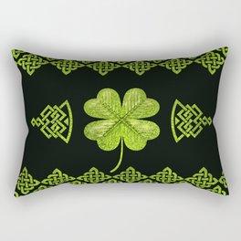 Irish Shamrock Four-leaf clover with celtic decor Rectangular Pillow