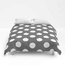 Dim gray - grey - White Polka Dots - Pois Pattern Comforters