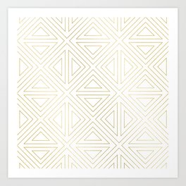 Angled White Gold Art Print