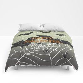 Flying Bat Happy Halloween Comforters
