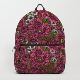 Pink and white chrysanthemum flowers and green bettles Backpack