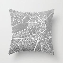 Silver Boston map Throw Pillow