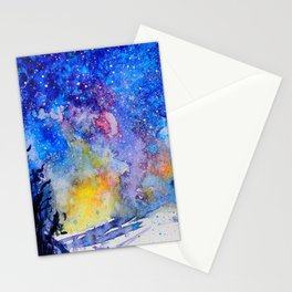Midnight Galaxy Road watercolour by CheyAnne Sexton Stationery Cards