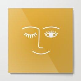 Wink (Mustard Yellow) Metal Print