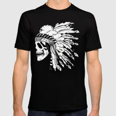 Black and White Native American  Mens Fitted Tee Black SMALL