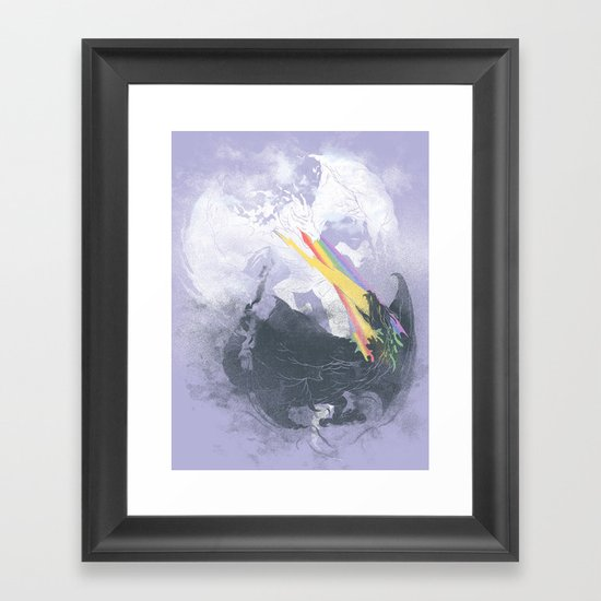 Clash of the sky Dragons Framed Art Print