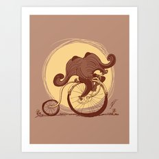 Happy Ride Curly Friend Art Print