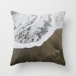 Beautiful soft wave on black sand at the sea, sunny day. Throw Pillow