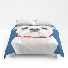 English Bulldog (WHT)  Art Poster Icon Series by Artist A.Ramos.Designed in Bold Colors Comforters