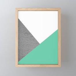 Concrete vs Aquamarine Geometry Framed Mini Art Print