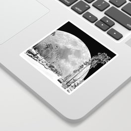 California Dream // Moon Black and White Palm Tree Fantasy Art Print Sticker