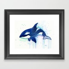 Killer Whale Orca Watercolor Painting Animal Art Framed Art Print