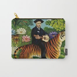 Henri Rousseau Dreaming of Tigers tropical big cat jungle scene by Henri Rousseau Carry-All Pouch