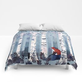 The Birches (in Blue) Comforters