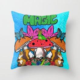 Magical Garden Creatures Throw Pillow