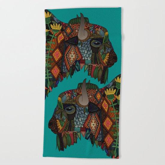 bison teal Beach Towel