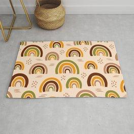 Retro 70s naive rainbow brown, orange, cream Rug