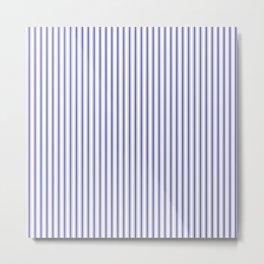 Narrow Navy Blue Mattress Ticking Stripes on White Metal Print
