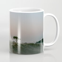 Lonely tree in the foggy Dunes || Travel photography green hills smoky nature landscape calm Coffee Mug
