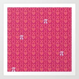 Hugs, Kisses, Love, and Pi - Pink  Art Print
