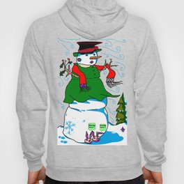 A Snowman (Snow Woman) in a Red Scarf Hoody