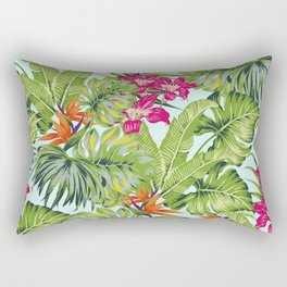 Bird of Paradise Greenery Aloha Hawaiiana Rainforest Tropical Leaves Floral Pattern Rectangular Pillow