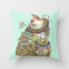 Quilted Comrades in the Forest Throw Pillow