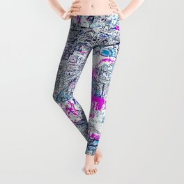 geometric shape painting texture abstract background in blue and pink Leggings
