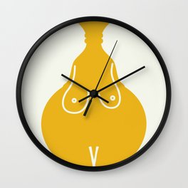 Shape of you nude in yellow  Wall Clock