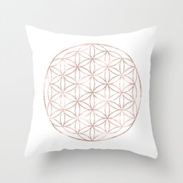 Mandala Rose Gold Flower of Life Throw Pillow