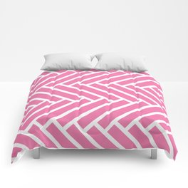 Candy pink and white herringbone pattern Comforters