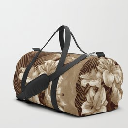 White Lilies and Palm Leaf in brownscale Duffle Bag