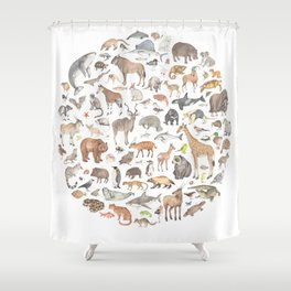 100 animals Shower Curtain