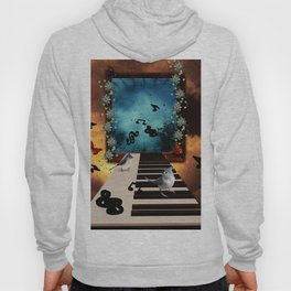 Music, piano with birds and butterflies Hoody