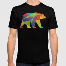 Fractal Geometric bear MEDIUM Black Mens Fitted Tee
