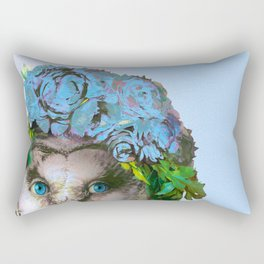 Cool Animal Art - Owl with a Flower Crown Rectangular Pillow