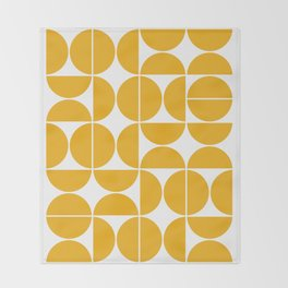 Mid Century Modern Geometric 04 Yellow Throw Blanket