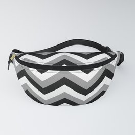 Gray White and Black Chevrons Fanny Pack